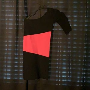 Black and pink one sleeve bandage fitted stretch